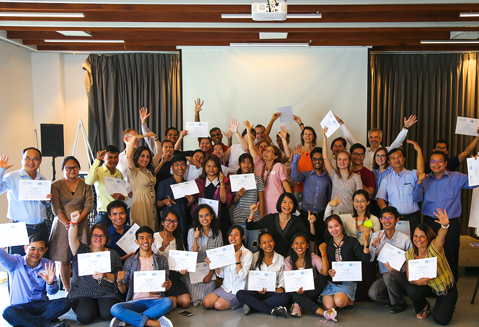 SDG Leadership Lab participants pose for a photo at the end of a successful week of co-creation and co-designing for young people in Cambodia.