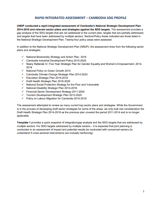Cambodia SDG profile: Summary Analysis of Rapid Integrated Assessment