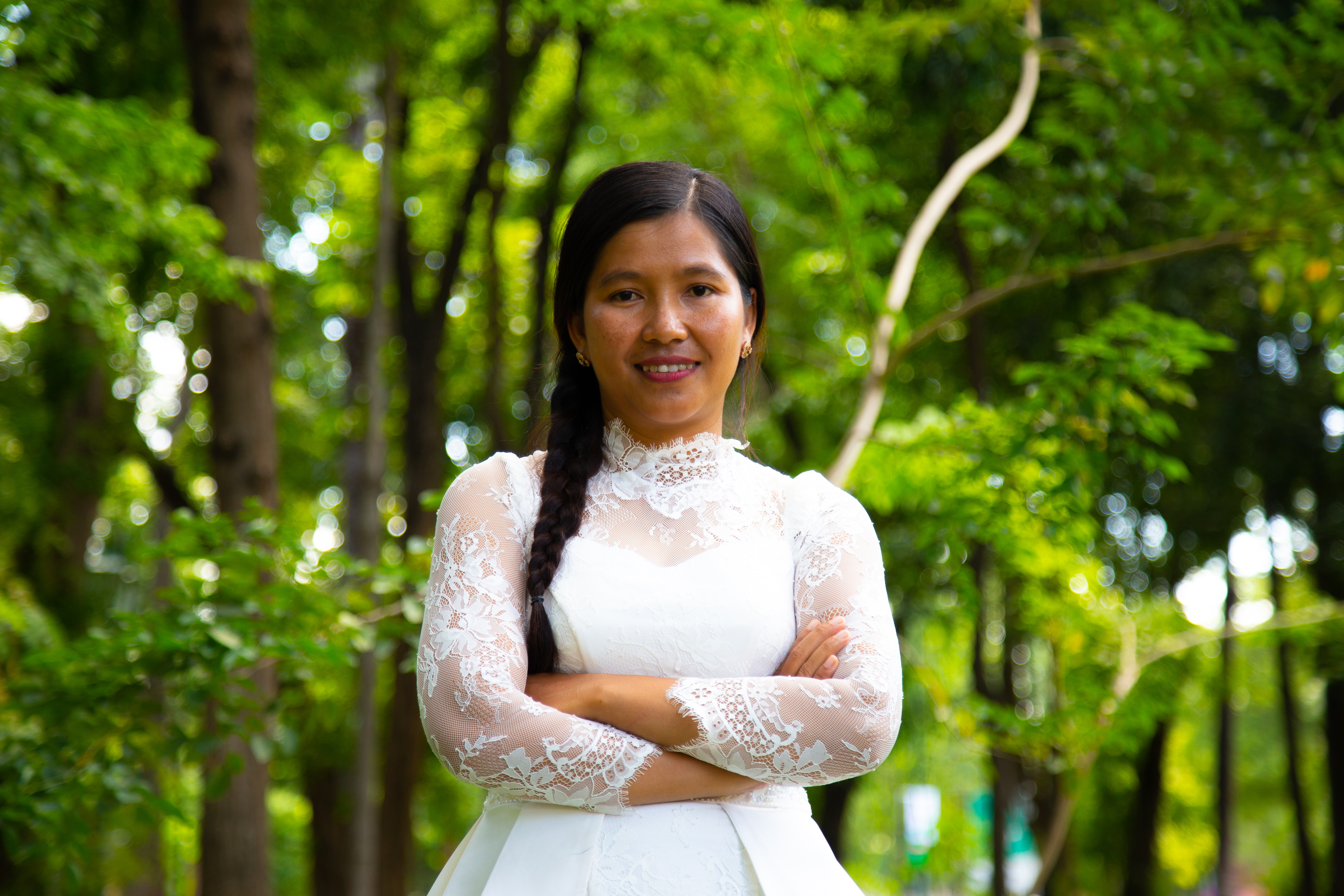 Chan Kanha (pictured), the District Deputy Governor in Kampot Krong, is an advocate for women's voices in disaster risk reduction (DRR).